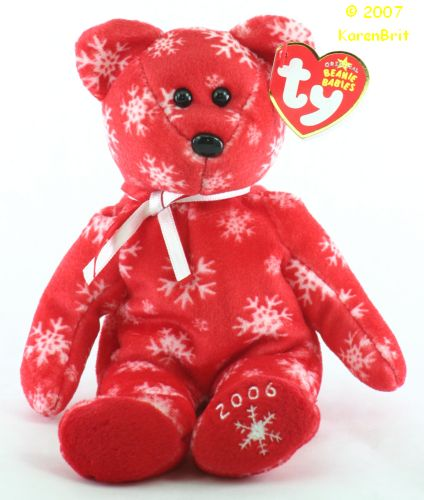 Snowbelles (red bear, white flakes)