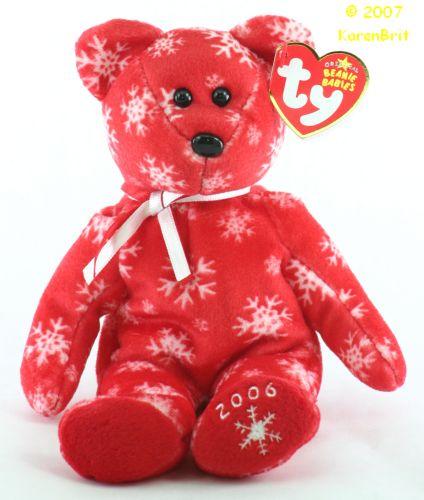 Snowbelles (red bear, white flakes)