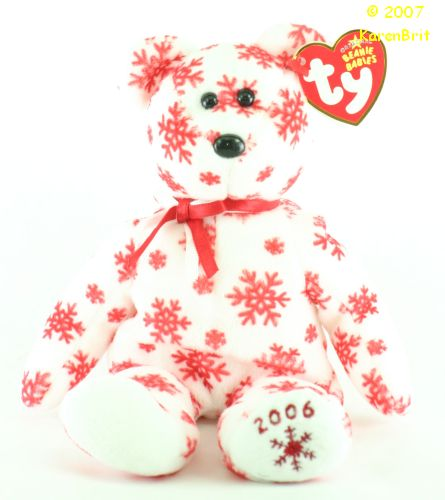 Snowbelles (white bear, red flakes)