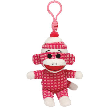 SOCK MONKEY (quilted, pink), Key-clip